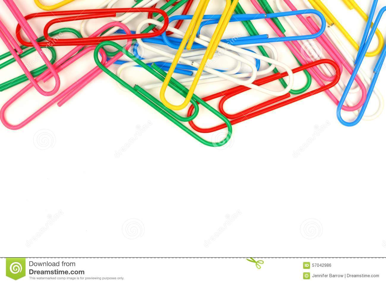Top border of paper clips stock photo. Image of overhead ...  Paper