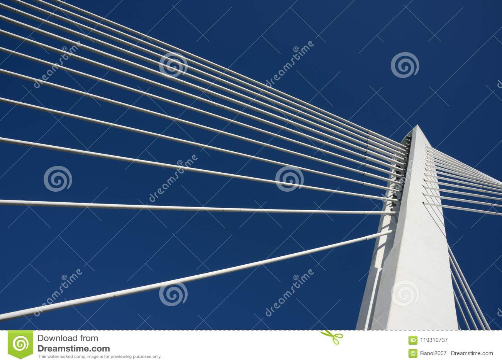 Top bridge pillar joining ropes, blue sky. Success.