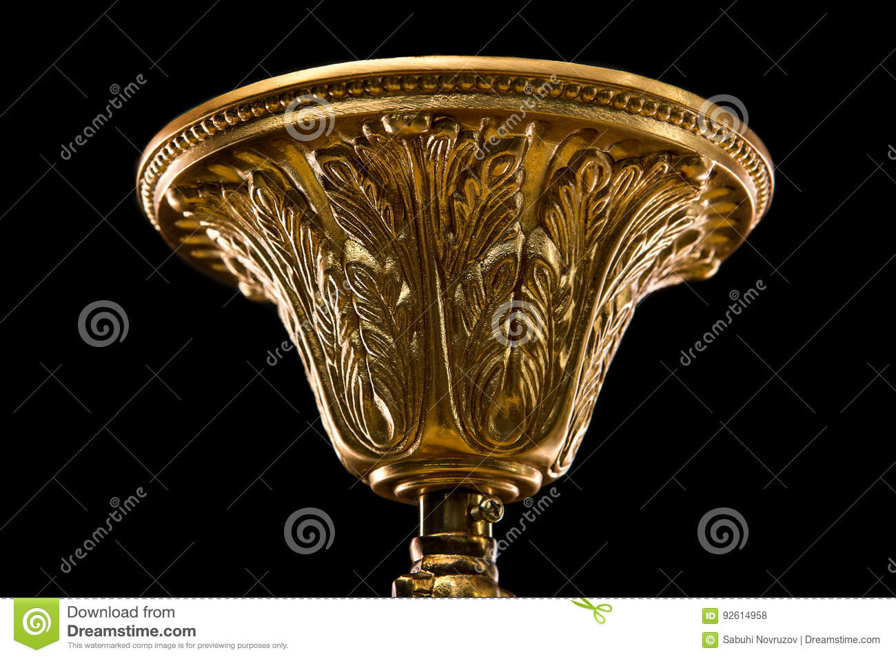 Top cap of chandelier contemporary gold chandelier isolated on royalty free stock photo arubaitofo Gallery