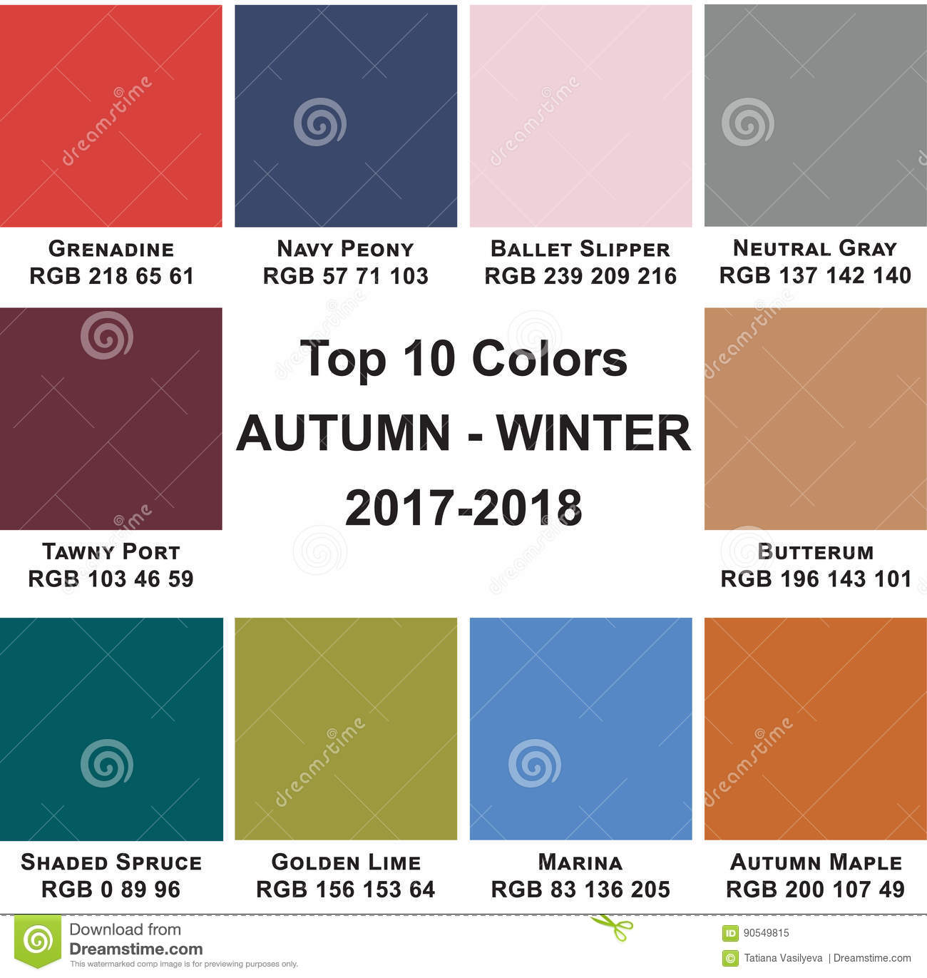 Top 10 Colors Autumn Winte 2017 2018 Royalty Free Stock