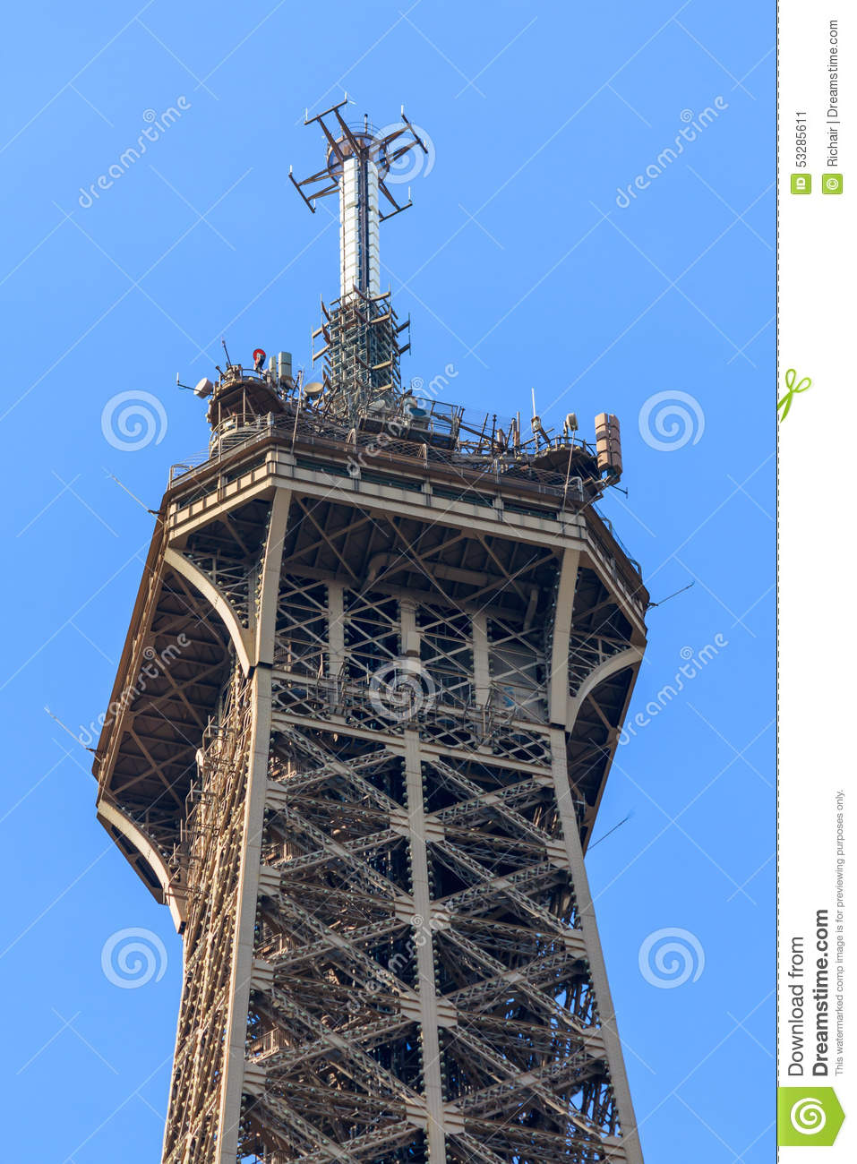 Top Of The Eiffel Tower Stock Photo Image 53285611