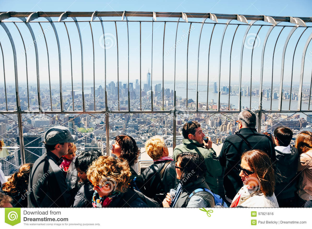 On top of the Empire State Building in Manhattan.