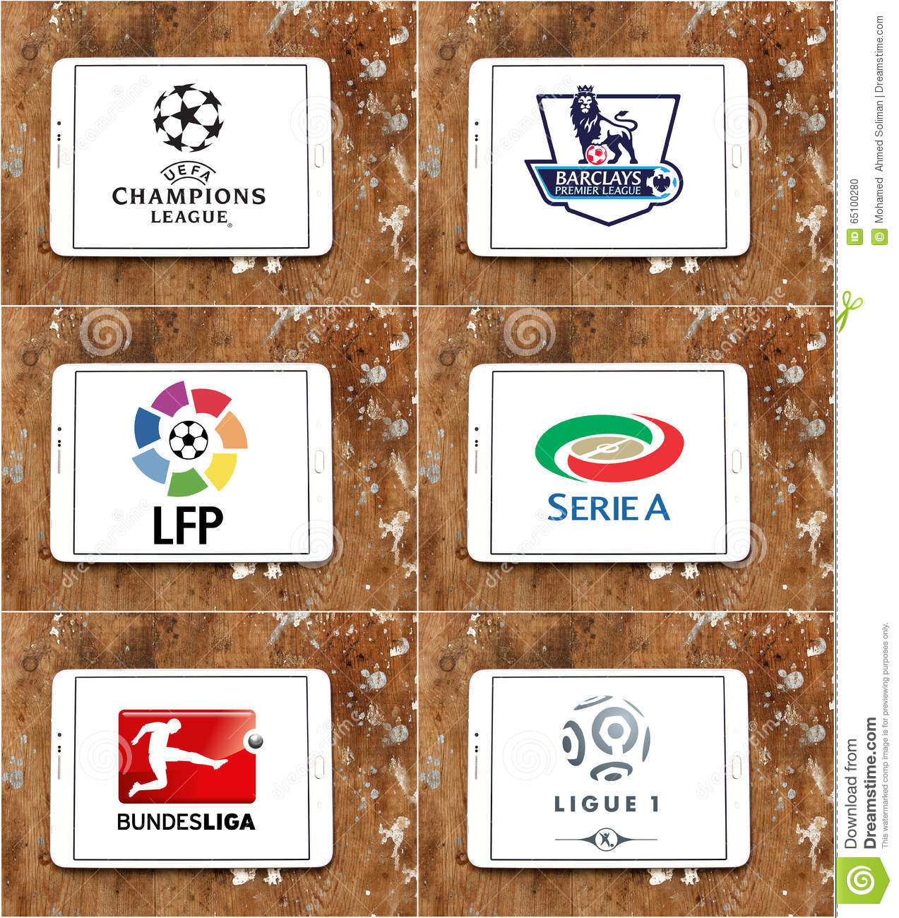 Top famous soccer or football league icons and brands in the world