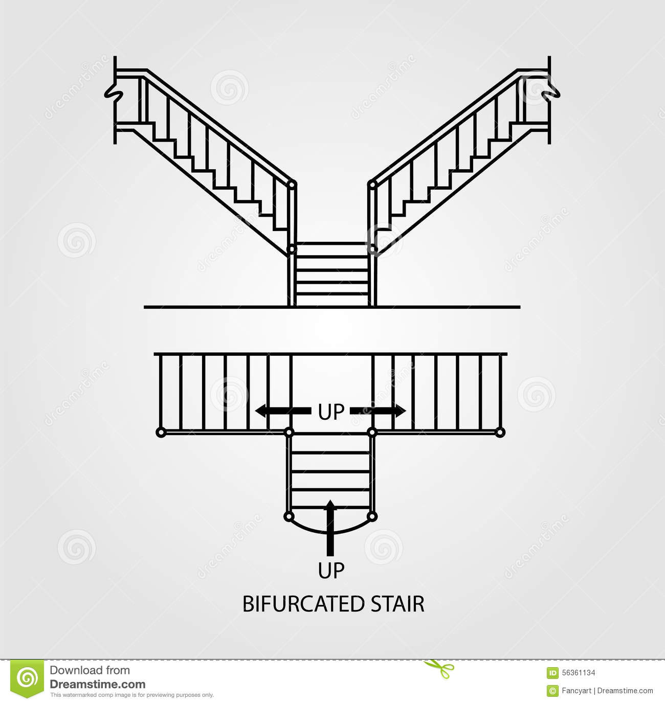 Top And Front View Of A Bifurcated Staircase Stock Vector - Image