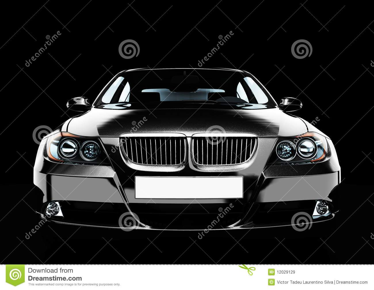 Top Front View Of A Luxury Sedan Car Stock Illustration