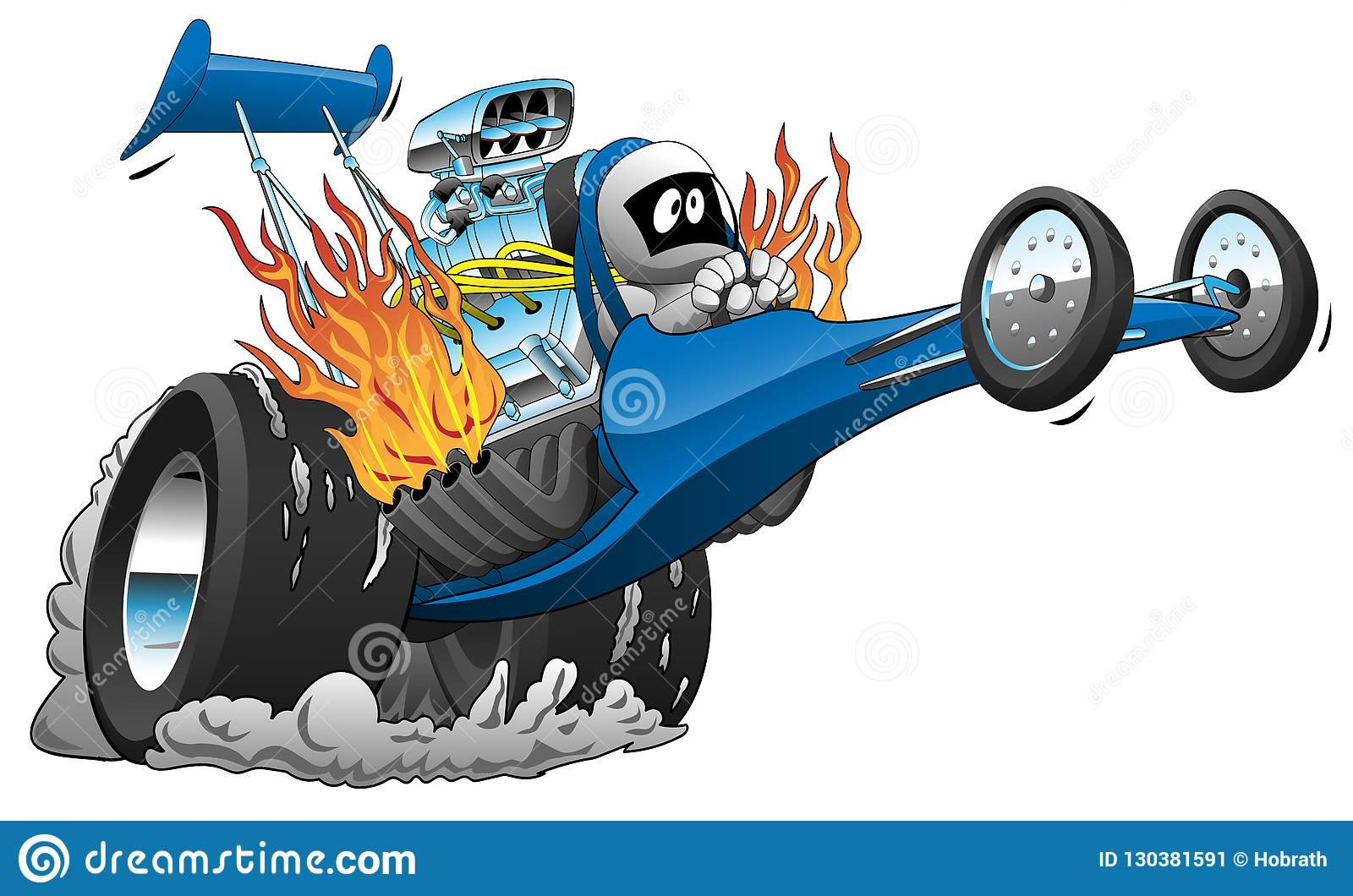 Top Fuel Dragster Vector Cartoon Illustration