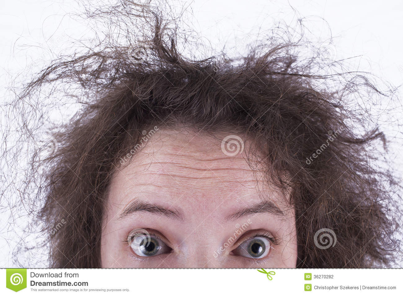 Top Half Of Surprised Frizzy Haired Girls Head Stock