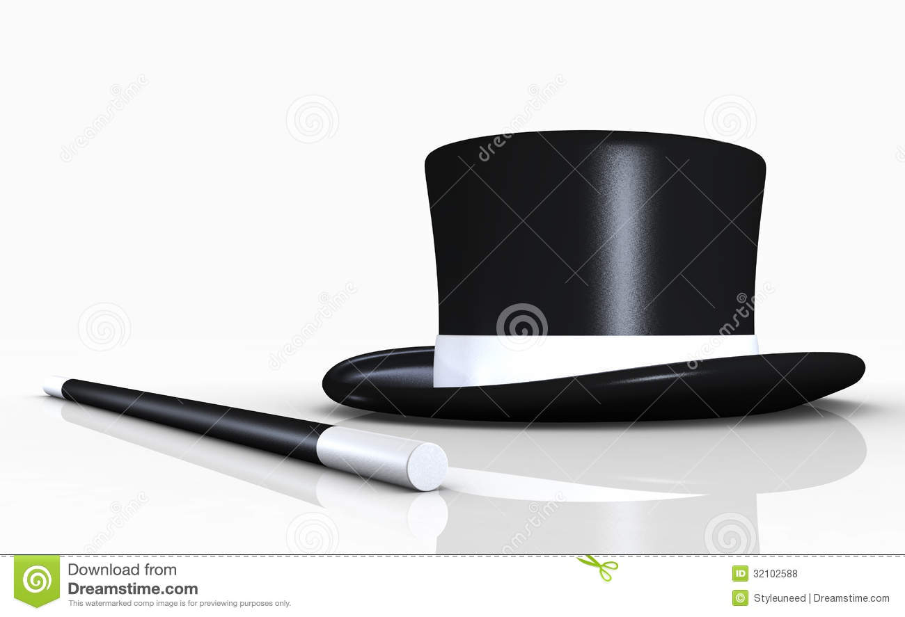 top hat and conjuring stick royalty free stock photos. Black Bedroom Furniture Sets. Home Design Ideas