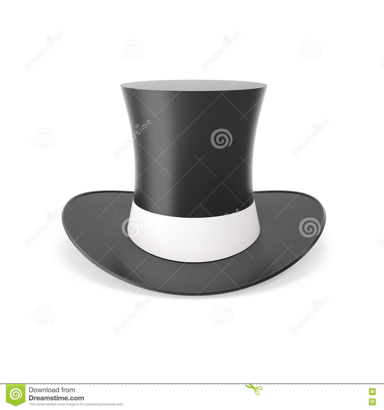 03bf91b2aad Top Hat With White Ribbon Isolated On White Background. Stock ...