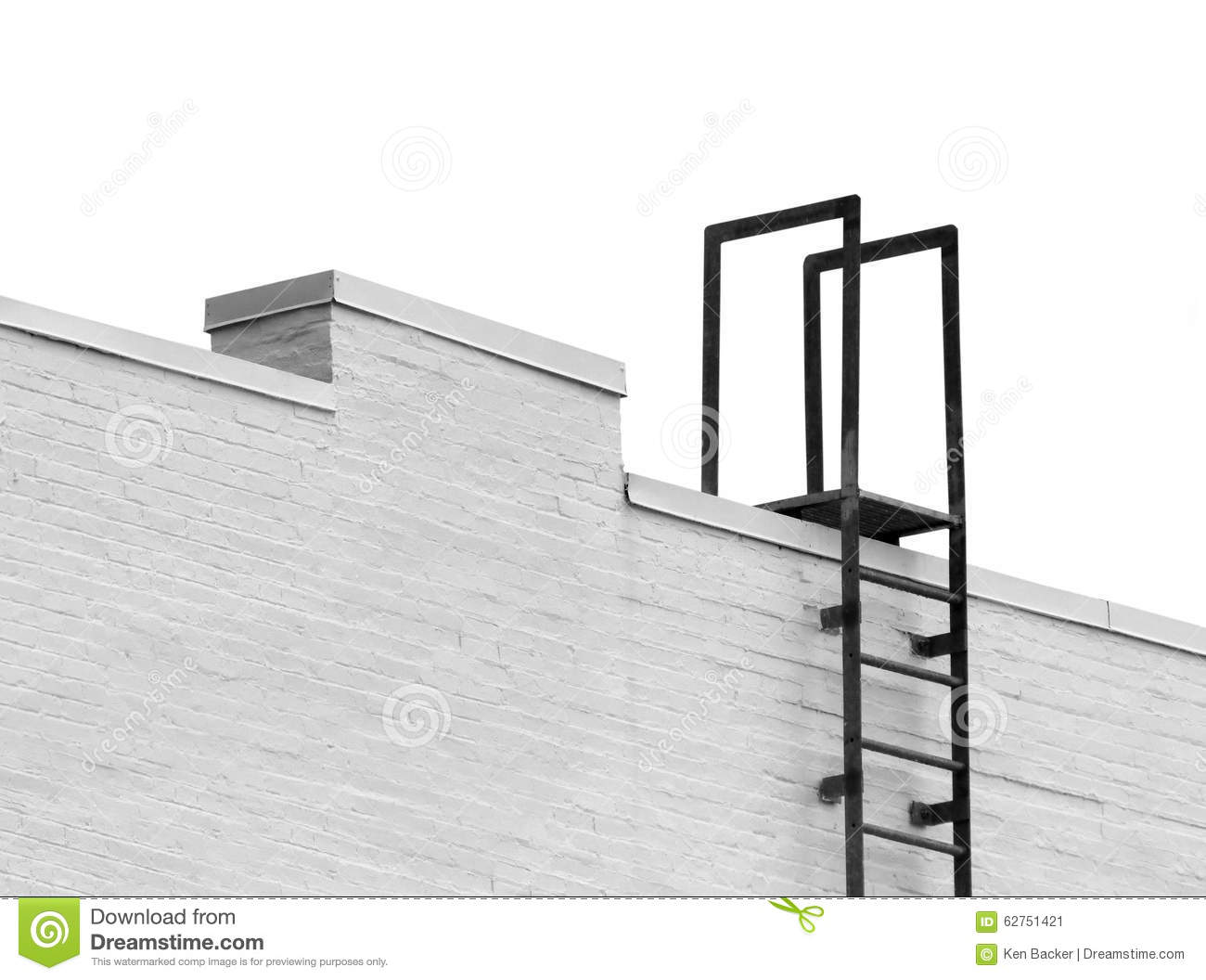 Top Of A Ladder To Roof Isolated Stock Photo Image