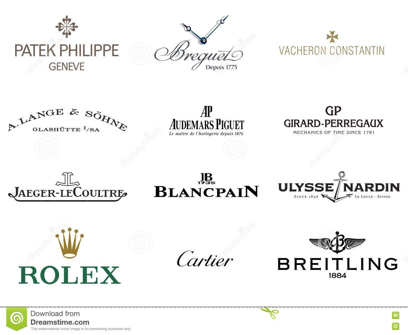 Stock Images Top 12 Luxury Watches Brand And Logos Image