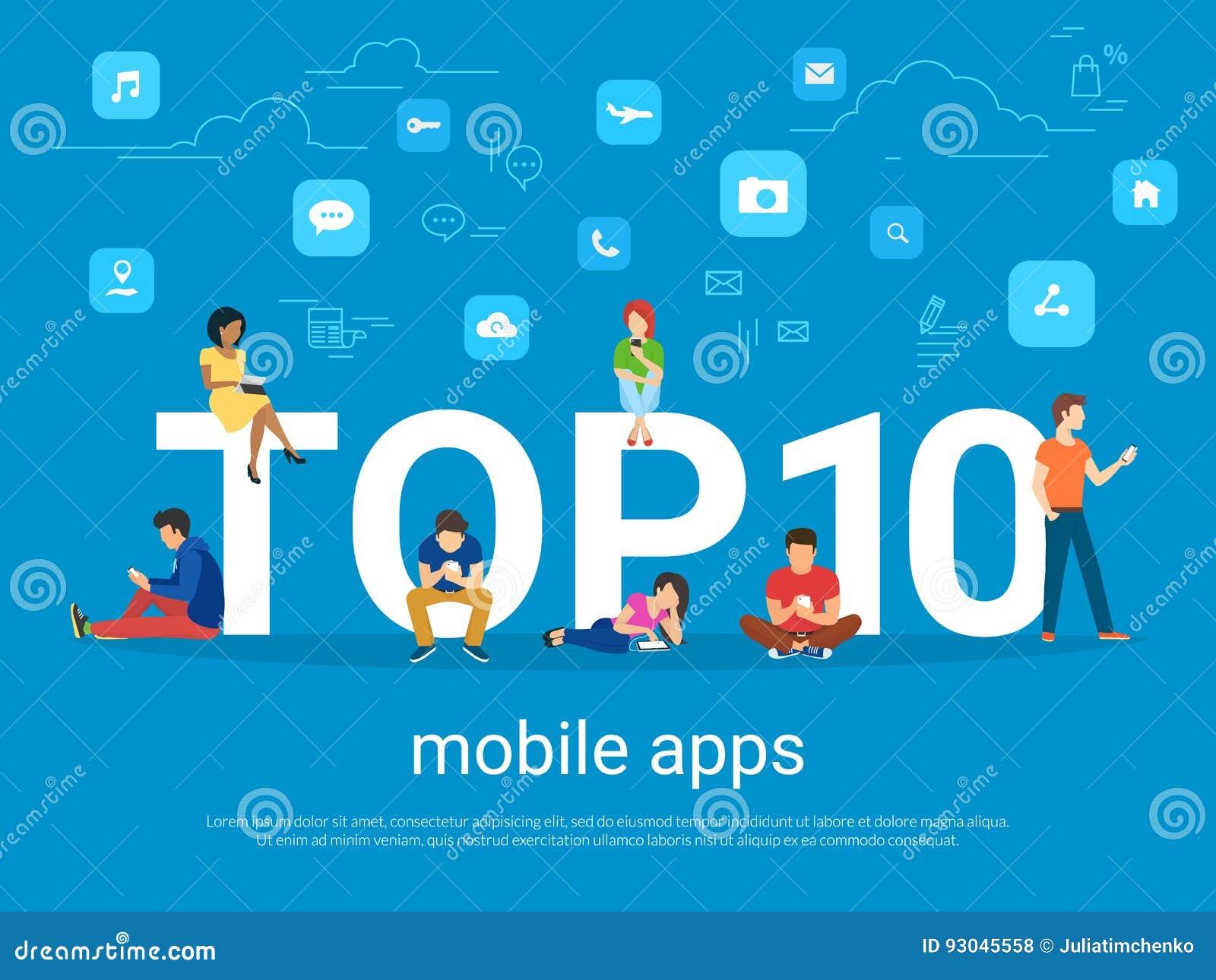 Top 10 mobiele apps en mensen met gadgets die smartphones gebruiken