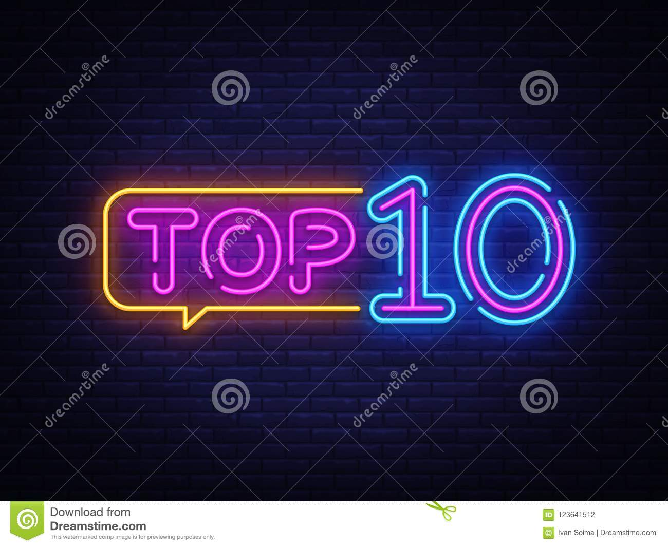 top 10 neon text vector top ten neon sign design template modern