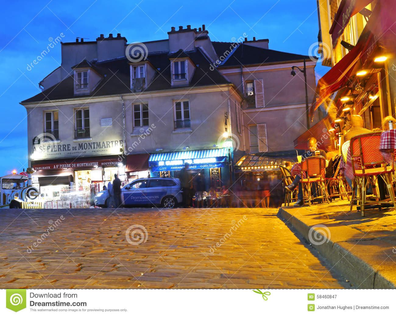 The Top Of Paris Montmartre At Night Editorial Photography