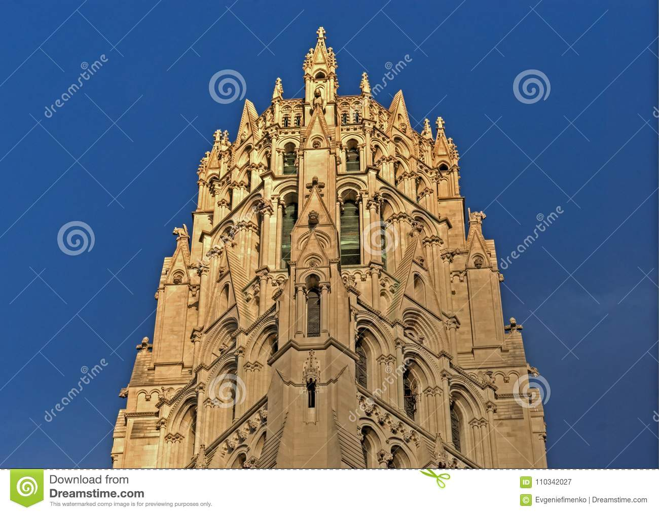 Download Top Of Riverside Church In New York City Stock Image   Image Of  Elements,
