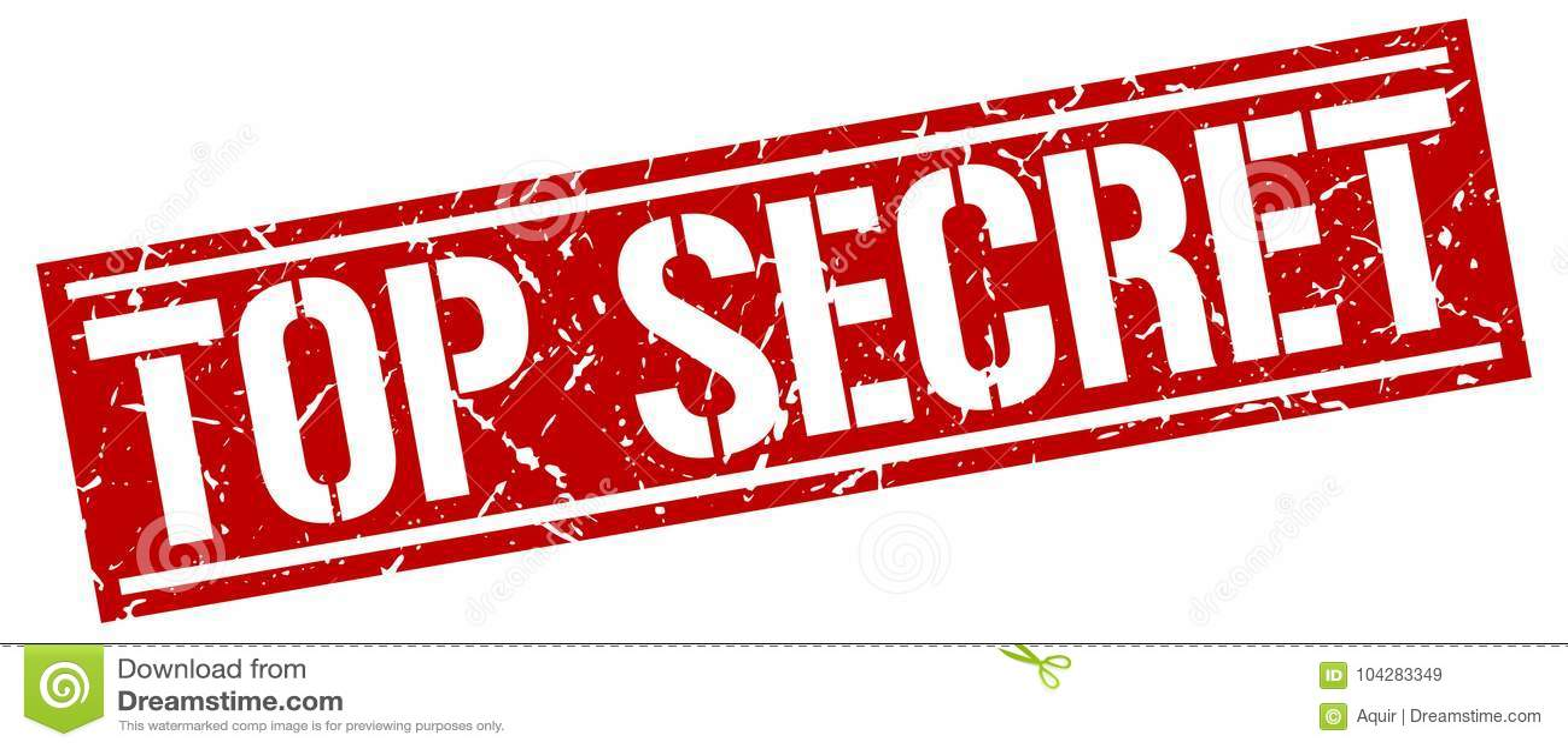 Top Secret Grunge Stamp On White Background