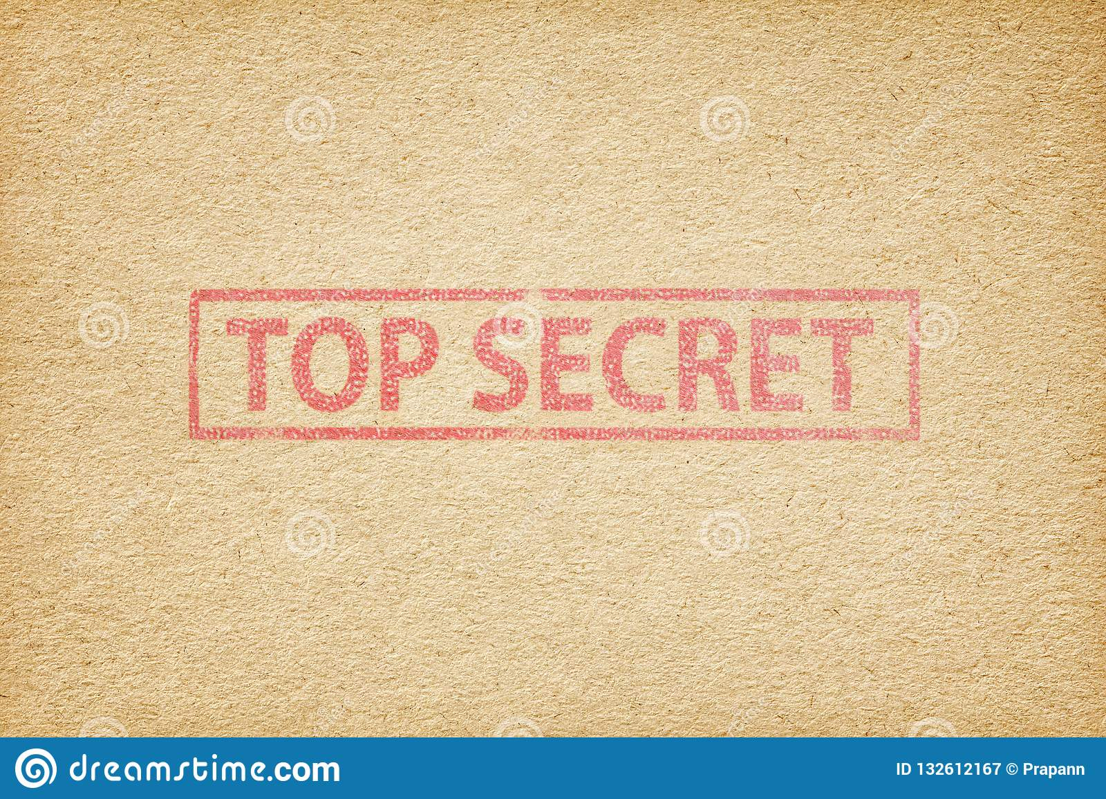 Top Secret Stamp On The Brown Paper