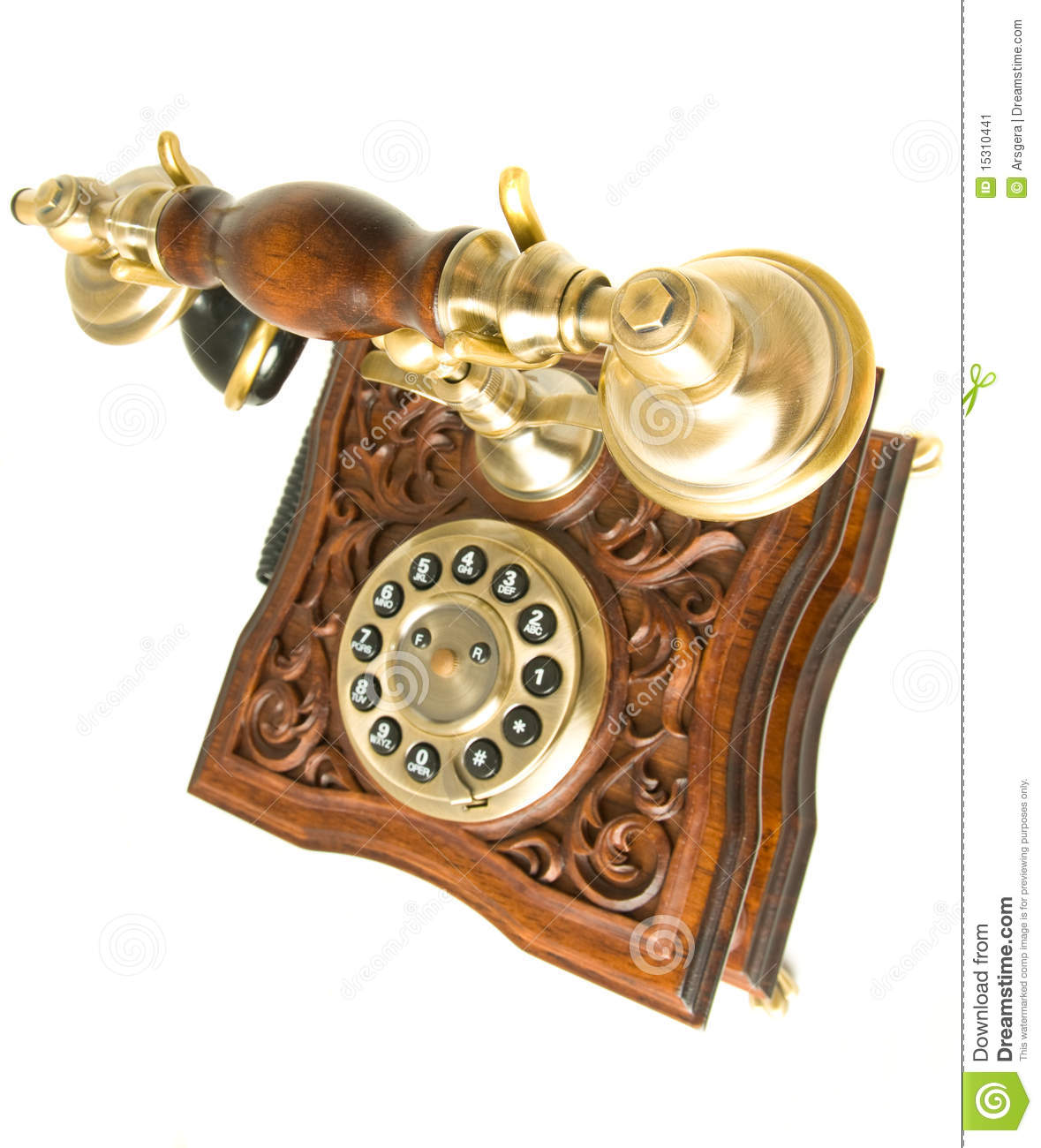 Top Side View Of Old Telephone Stock Image - Image of