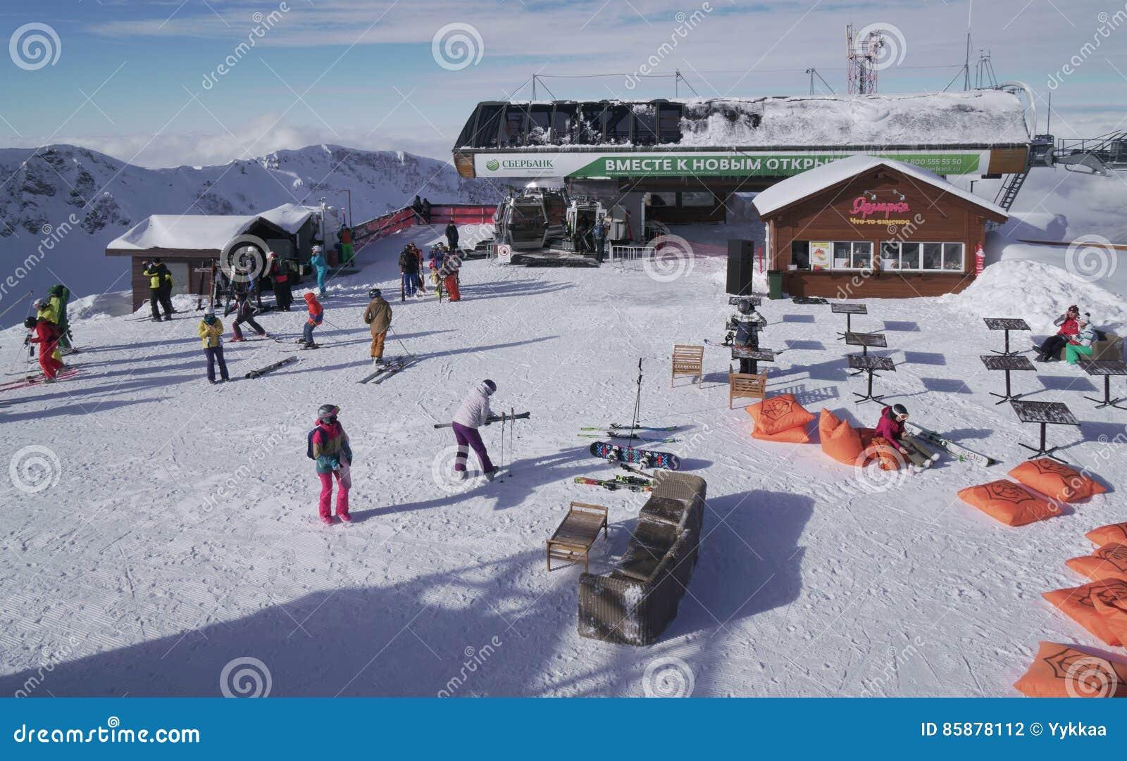 on the top of ski resort gorky gorod 2200 meters above sea level