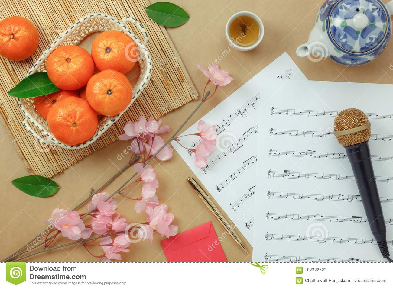 Top table view Chinese & Lunar new year with music sheet note paper concept