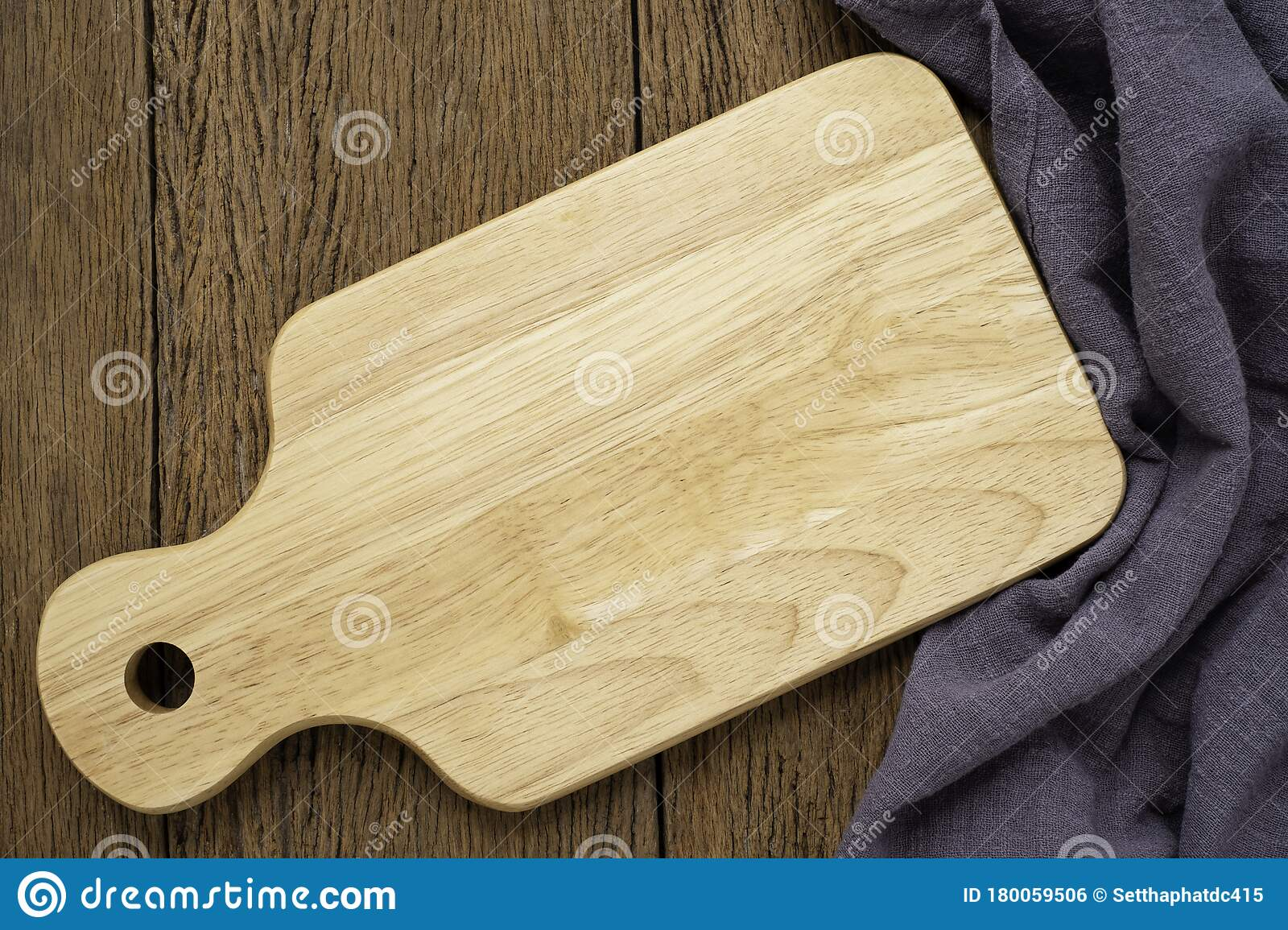 Top View Above Of Wooden Chopping Board With Napkin On Dark Table Background Stock Photo Image Of Design Menu 180059506