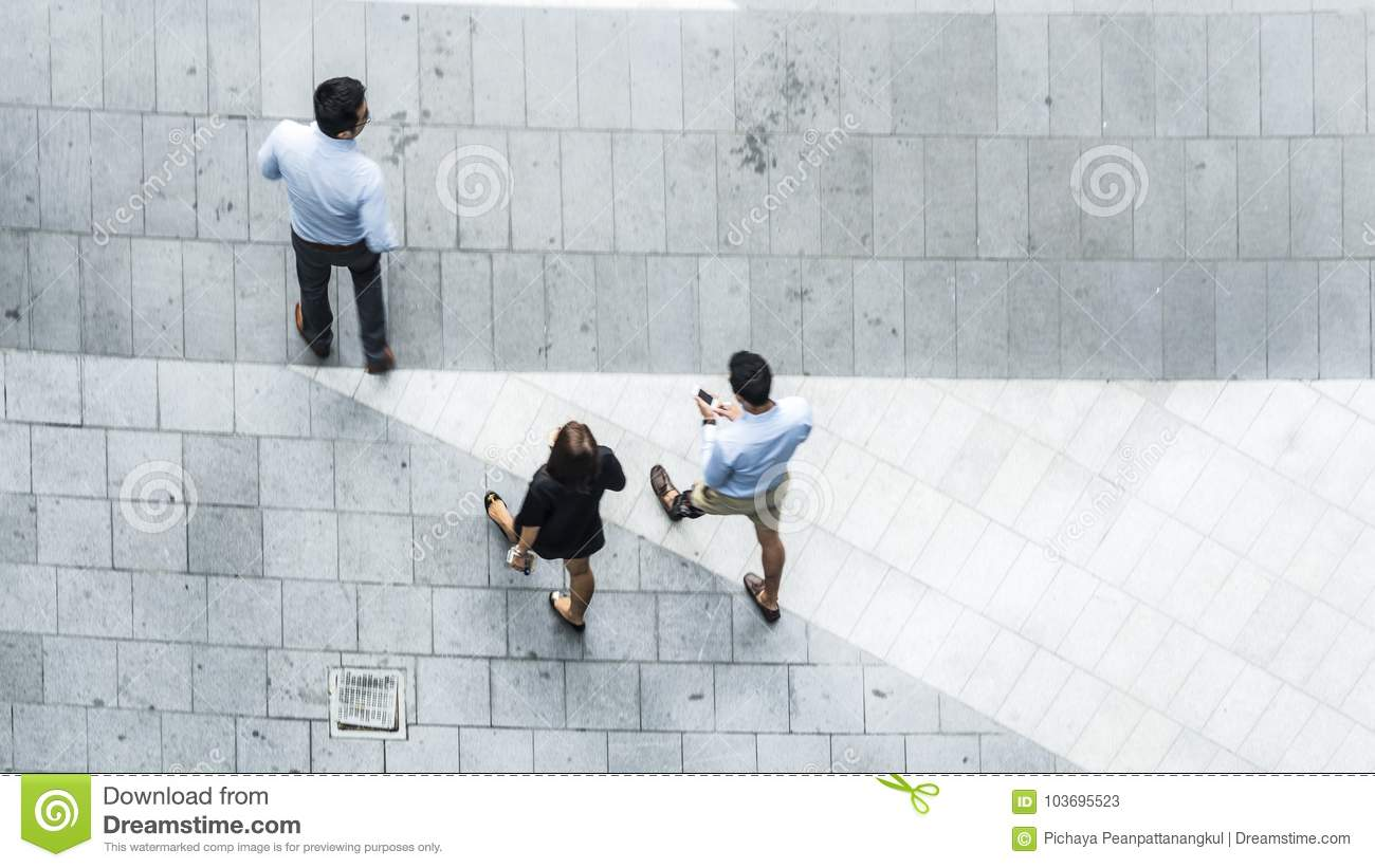 Top View Aerial Of Business People Walk In Pedestrian Street Stock
