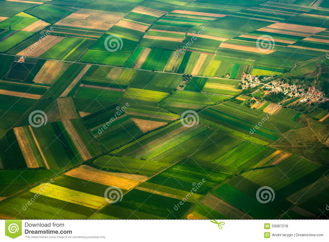 top view aerial photo of settlements and fields stock photo