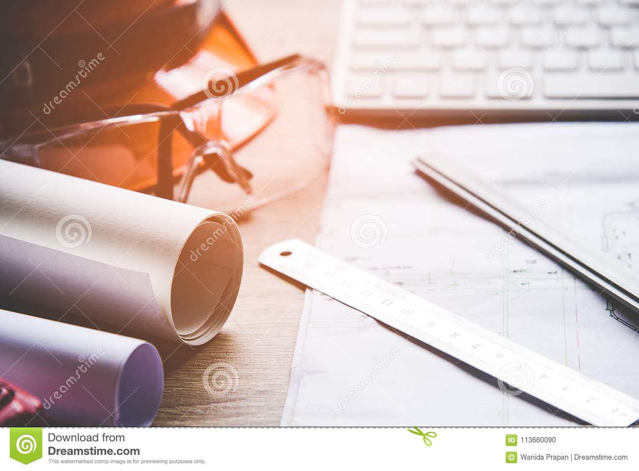 Top view architect working on blueprint architects workplace royalty free stock photo malvernweather Image collections