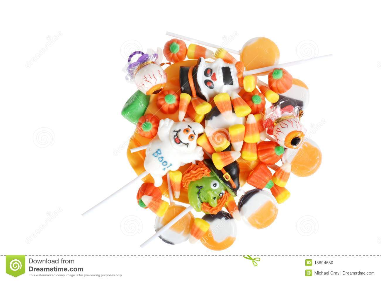 top view assorted halloween candy stock photo - image of holiday