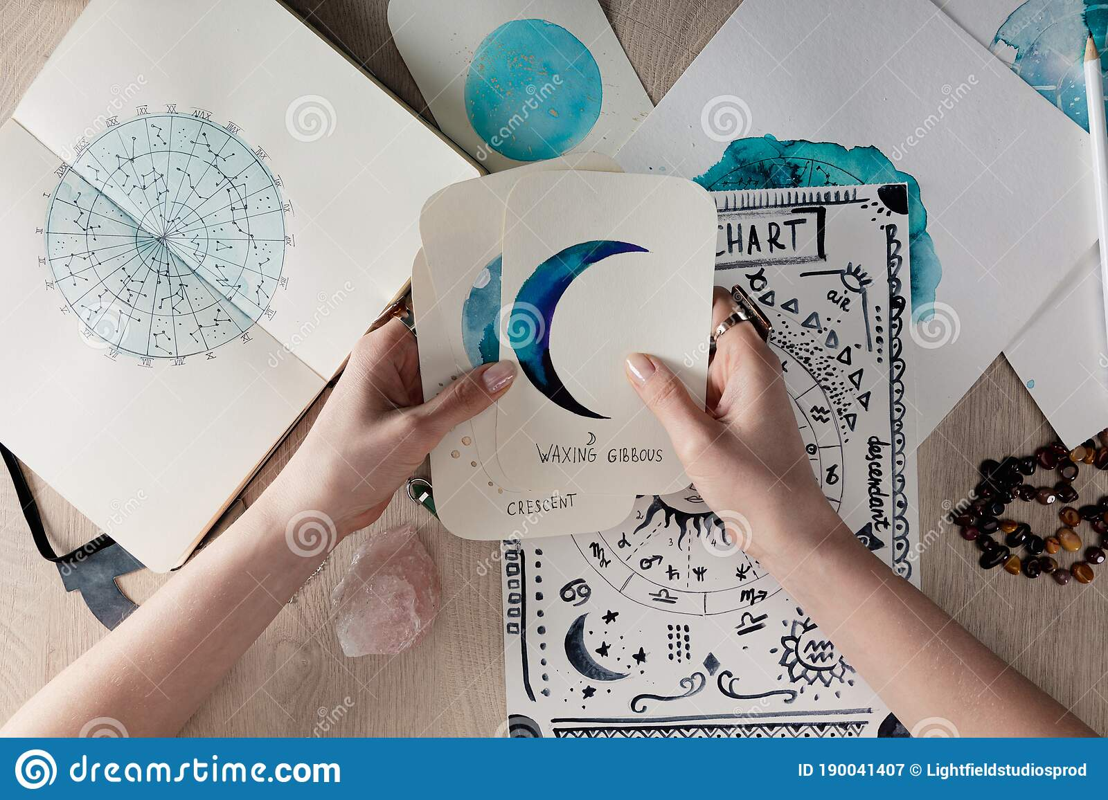Top View Of Astrologer Holding Watercolor Stock Image   Image of ...
