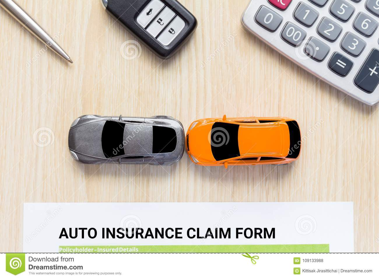 Top View Of Auto Insurance Claim Form With Car Toy Crash On Wood Stock Photo Image Of Cost Agreement 109133988