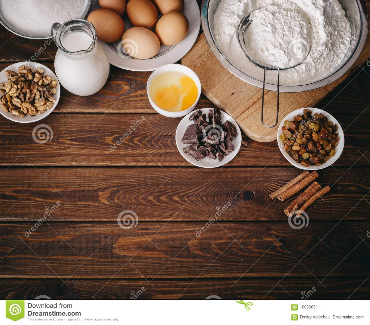 Top View Of Baking Ingredients For Homemade Pastry On Rustic