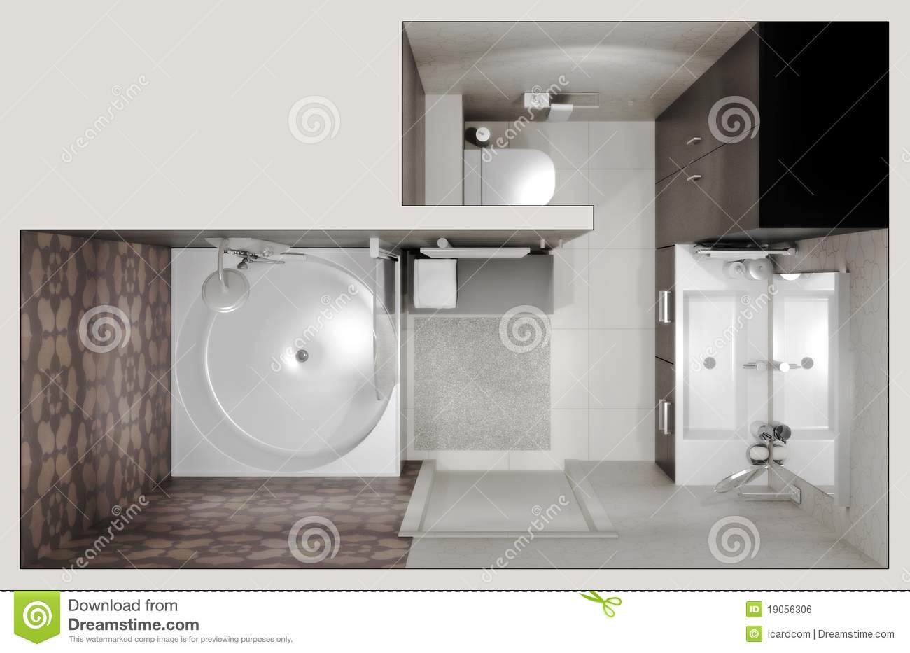 Top view of the bathroom royalty free stock image image for Bathroom designs top view
