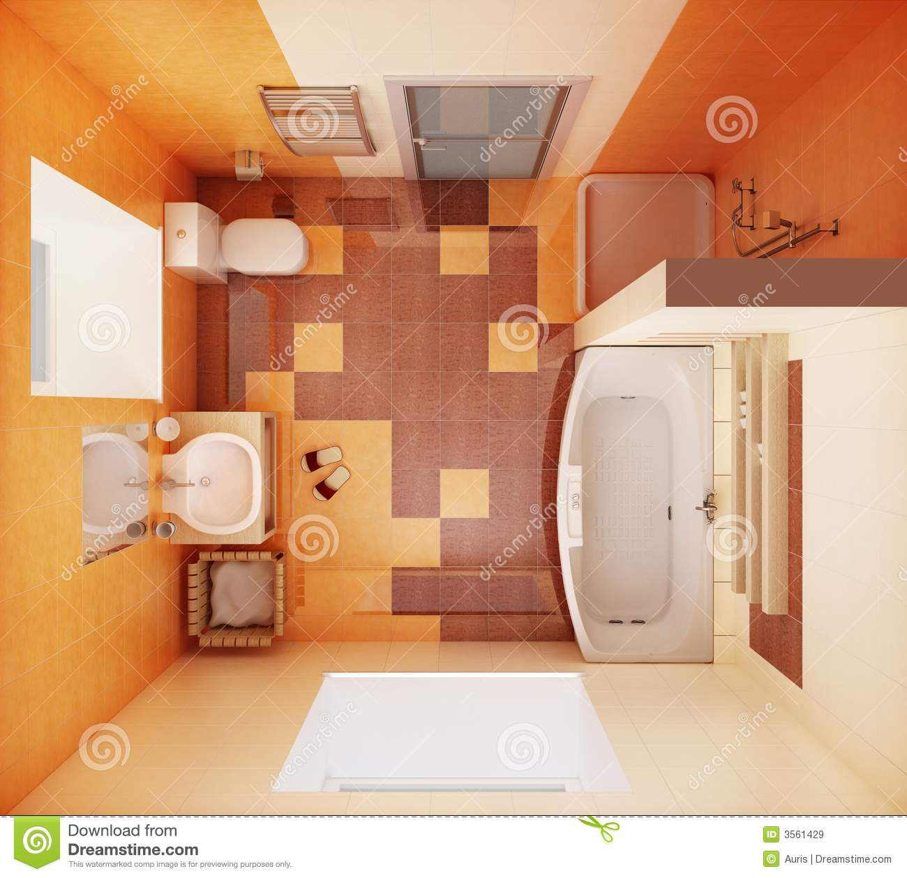 Vue Bathroom Accessories: Top View Of The Bathroom Royalty Free Stock Images