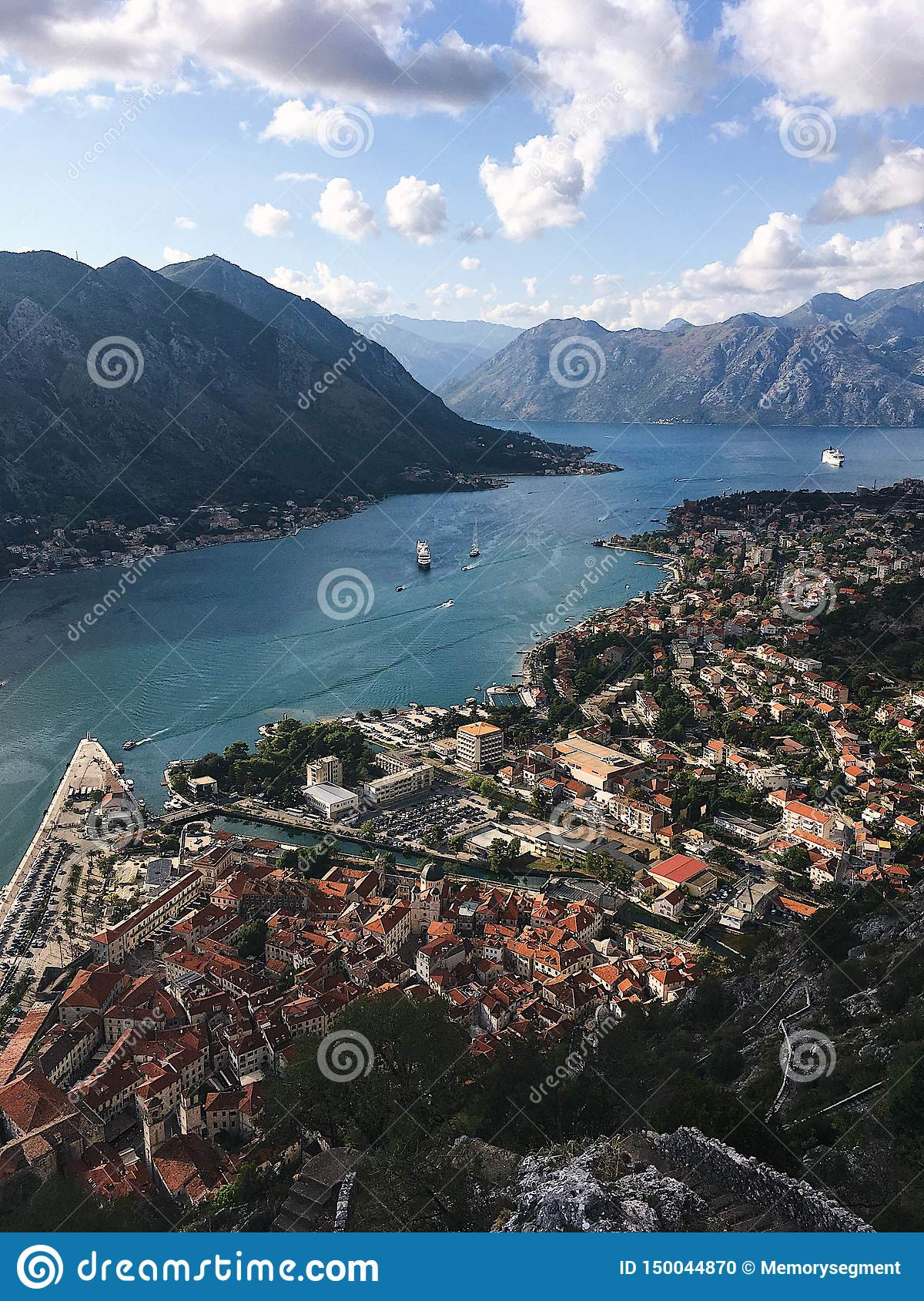 Top view of the Bay of Kotor in Montenegro. Sunny day on the Adriatic coast of Kotor