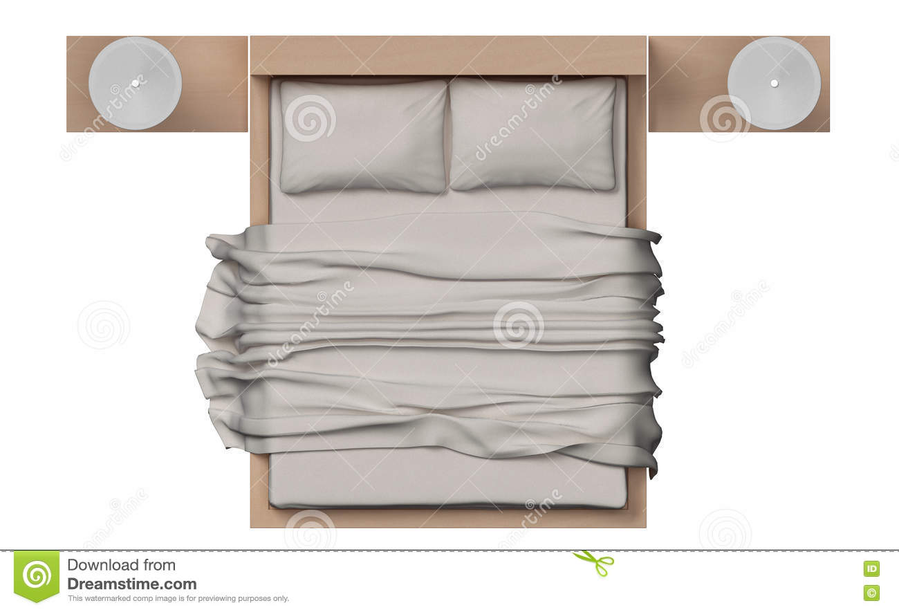 Top View Of Bed With Wood Frame On White Background Stock Image