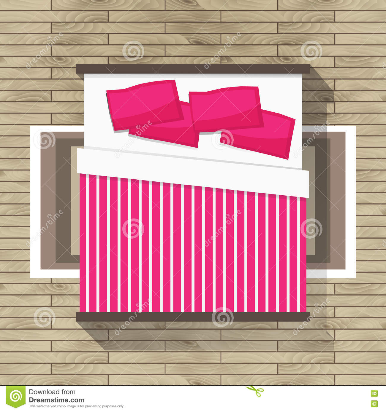 Top View Bedroom With Pink Bed Stock Vector Illustration Of