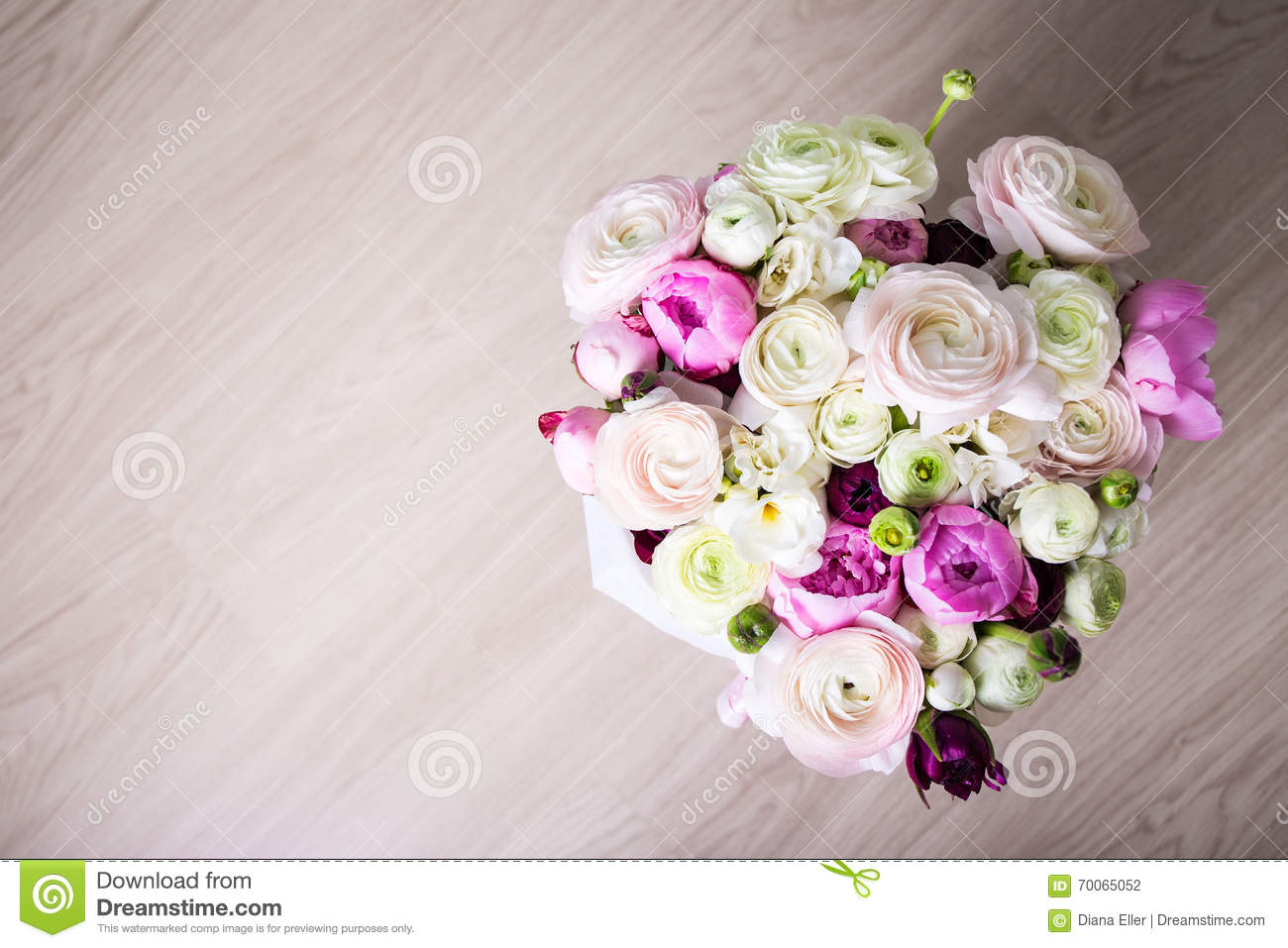 Top View Of Big Bouquet Of Summer Flowers Stock Photo Image Of