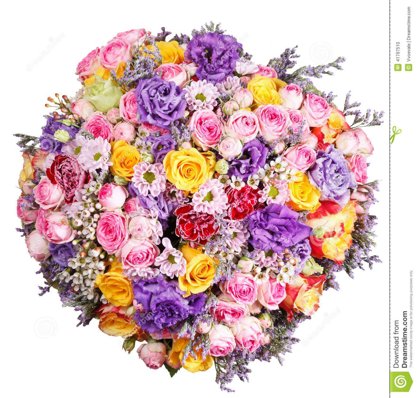 Top view of big bunch of flowers isolated stock photo for Big bouquets of flowers