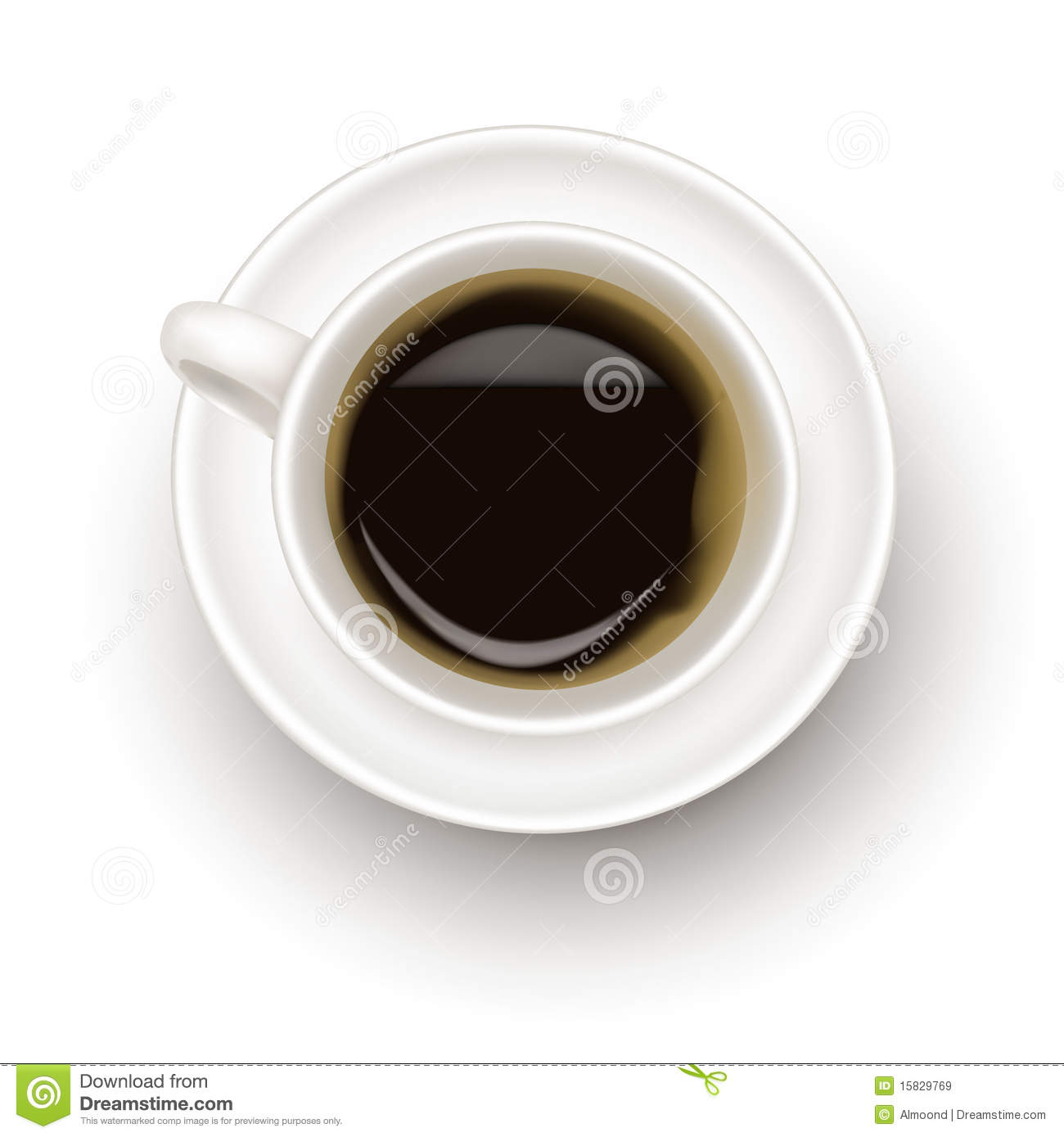 Top View Of Black Coffee Cup Stock Vector Illustration
