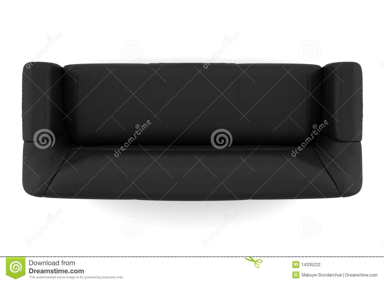 Top View Of Black Leather Sofa Isolated On White Stock