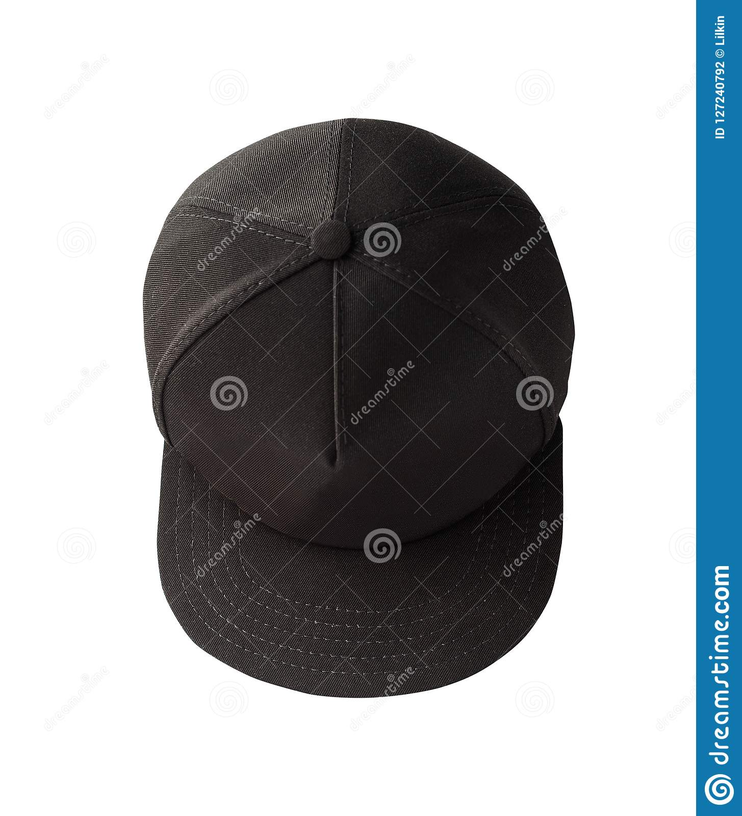 ae295160 Top view of black snapback cap isolated on white background. Blank baseball  cap or trucker hat