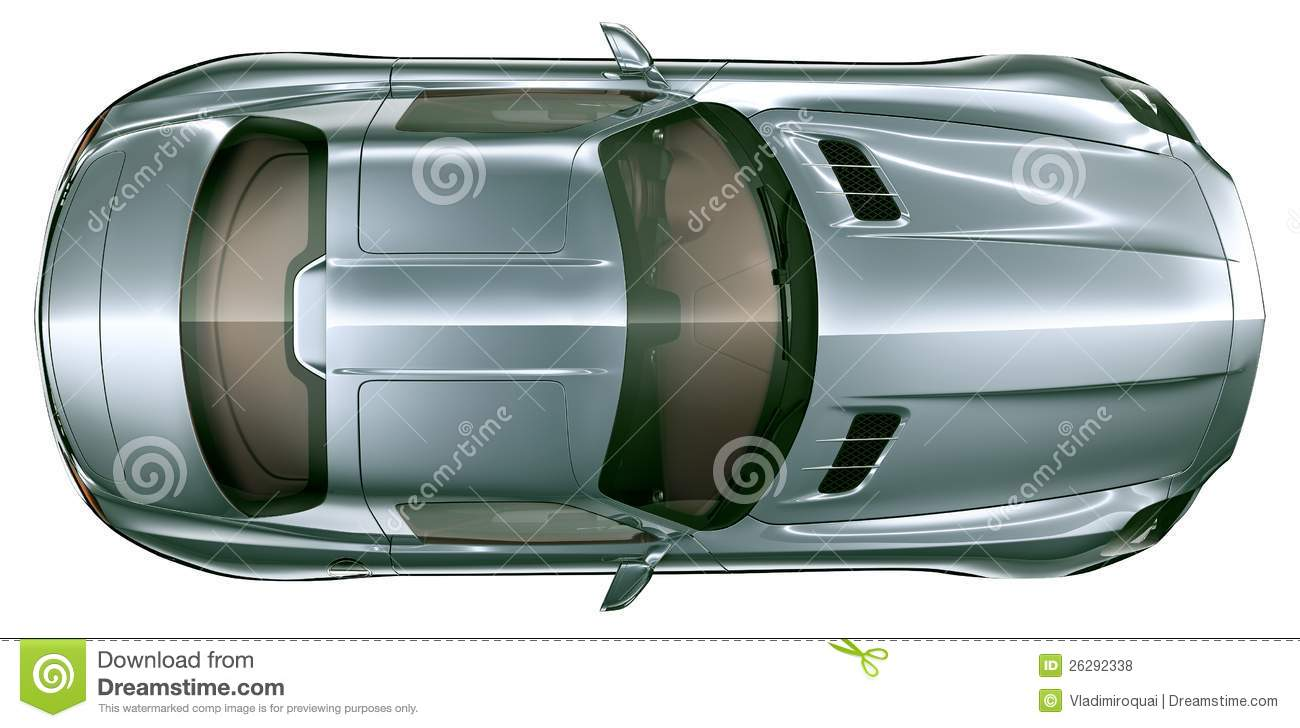 Top View Of Blue Super Sport Car Stock Photo Image Of Glossy