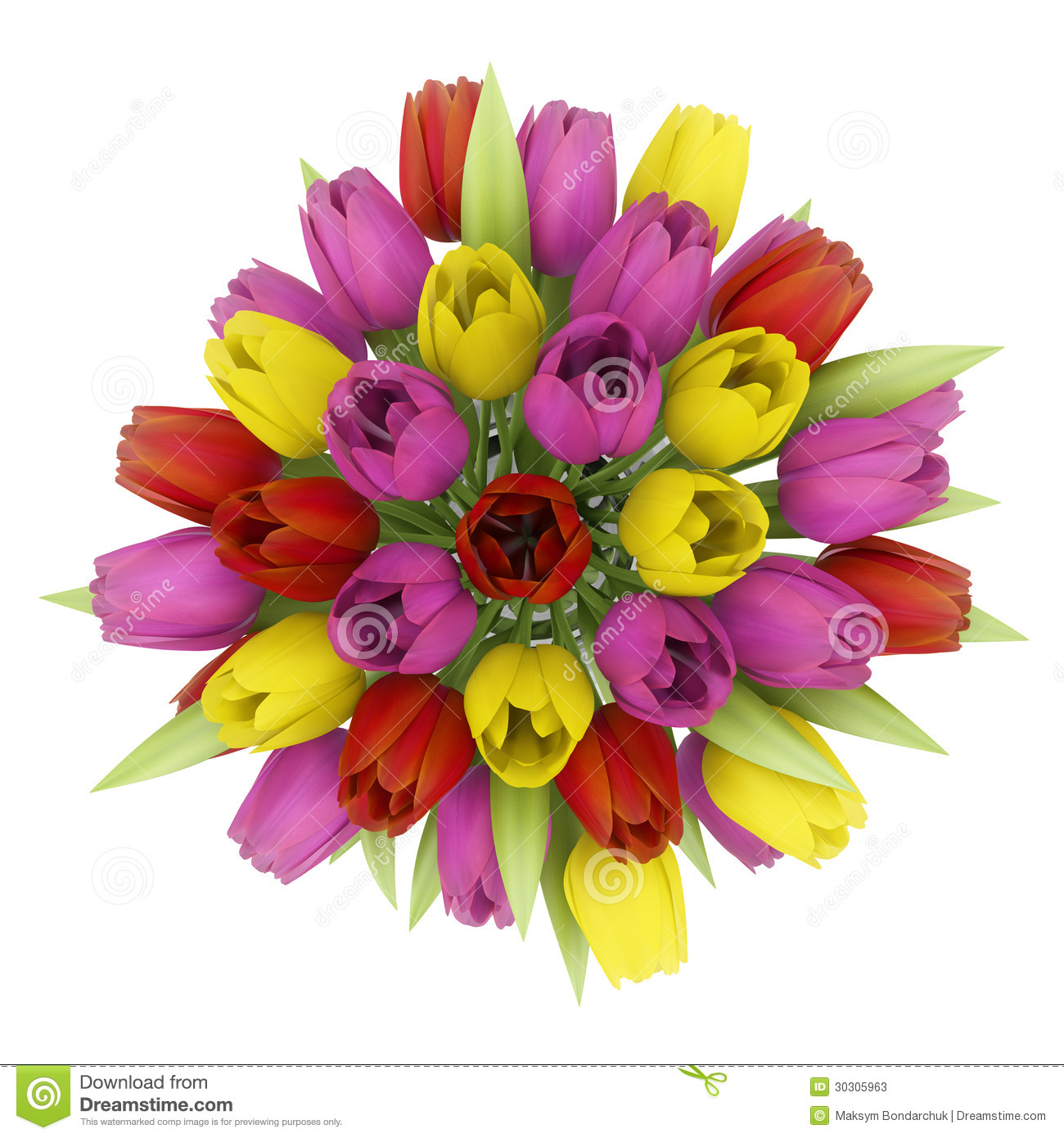 Top view bouquet of tulips in vase isolated on white stock for Biggest bouquet of flowers