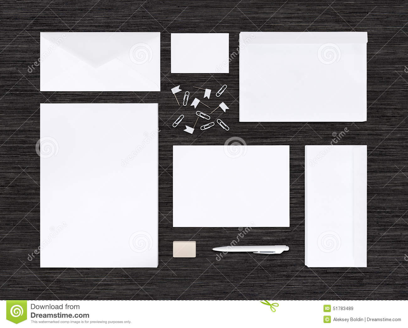 Top view of branding identity mockup and template on black table