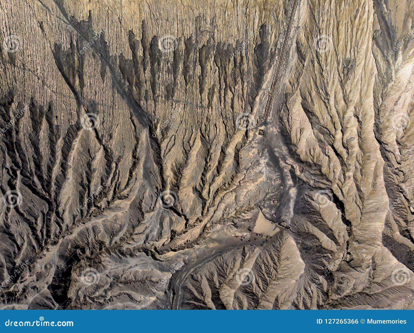 Top view brown crater volcano active textured