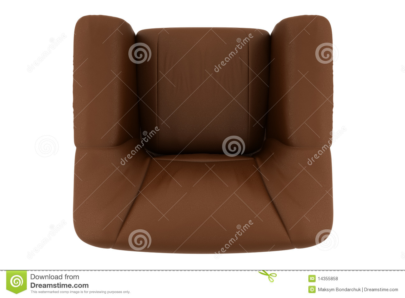 Top View Of Brown Leather Armchair Isolated Stock Photo ...