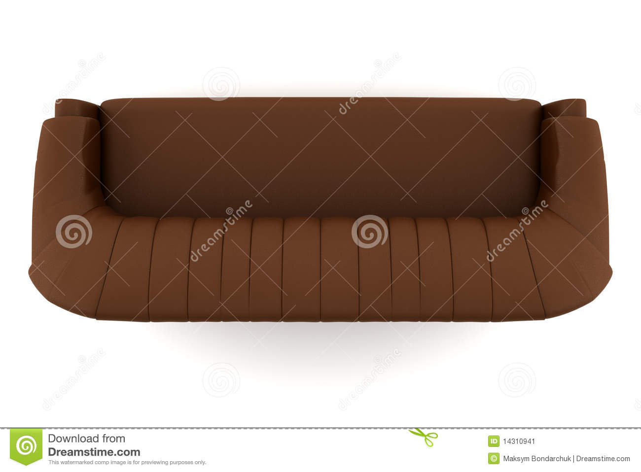 Top View Brown Leather Sofa Isolated White Stock Image Image