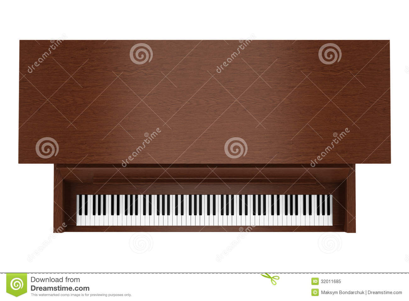 Upright piano top view