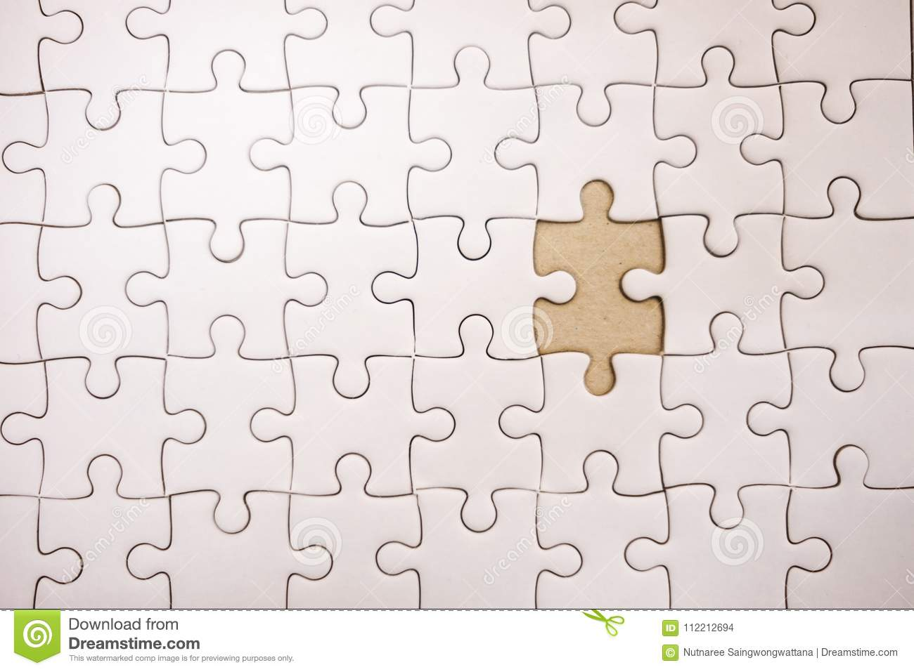 Top View  Business Background White Jigsaw With Copy Space  Image